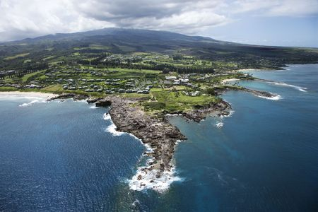 Aerial view of buildings on coastline of Maui, Hawaii. Stock Photo