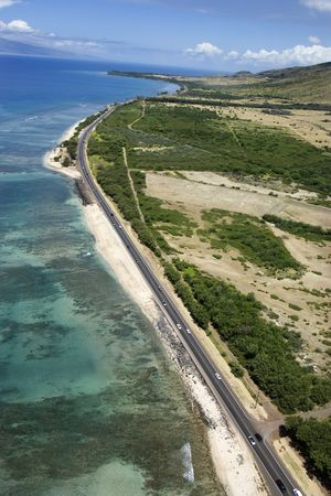 Aerial view of road next to coastline on Maui, Hawaii. Stock Photo - 2044113