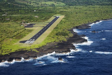 airstrip: Aerial view of landing airstrip on coast of Maui, Hawaii.