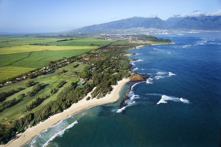 Aerial view of Maui, Hawaii coastline and beach. photo