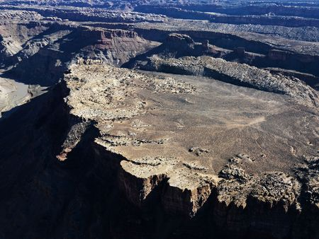 landforms: Aerial view of Utah Canyonlands with landforms. Stock Photo
