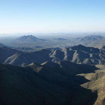 arizona landscape: Aerial view of Arizona landscape with mountain range. Stock Photo