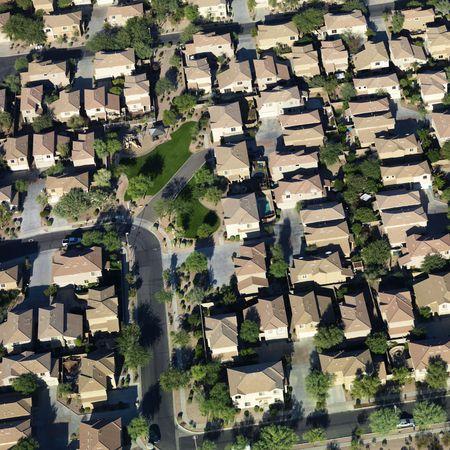 Aerial of suburban neighborhood on outskirts of Phoenix, Arizona. Stock Photo