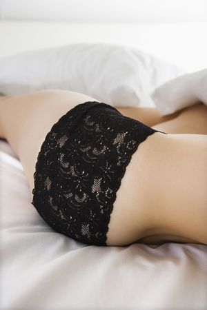 Close up side view of woman in black lace panties. photo
