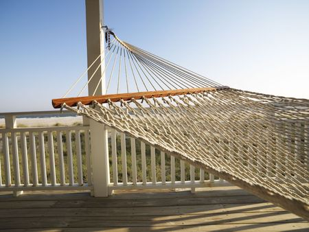 bald head: Porch with hammock at beach at Bald Head Island, North Carolina.