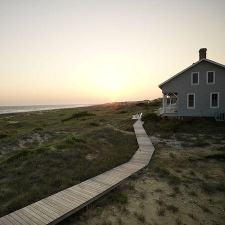 bald head island: Coastal beach house with wooden boardwalk at  Bald Head Island, North Carolina.