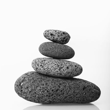 cairn: Cairn made of smooth stones stacked together.