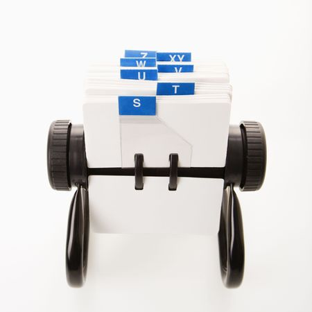 rolodex: Rolodex with blue letter tabs.  Stock Photo