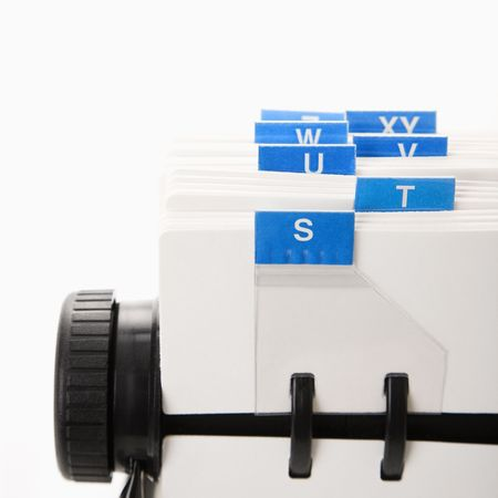 rolodex: Detail of rolodex with blue tabs.