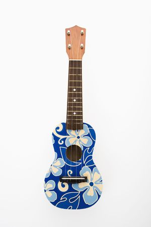 Ukulele painted with blue flowers in Hawaiian pattern.