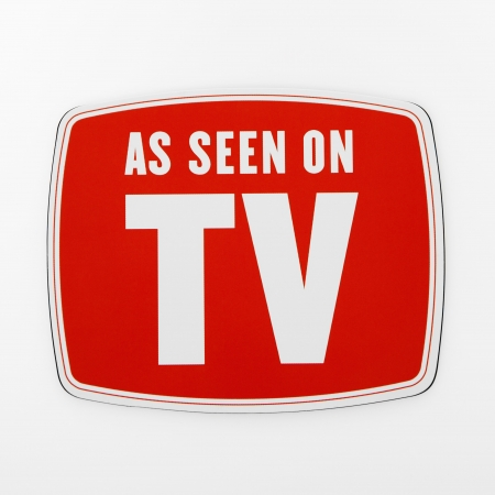 advertise: As seen on TV sign. Stock Photo