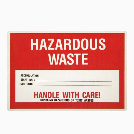 hazardous waste: Hazardous waste sign against white background.