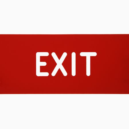 exit sign: Exit sign against white background.