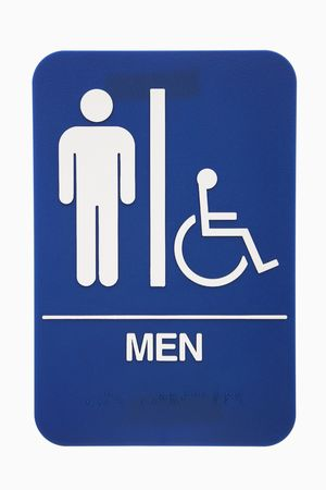 Men restroom sign with handicap access on white background. photo