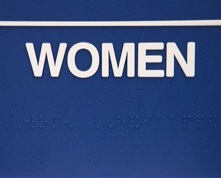 braille: Blue women sign with braille.
