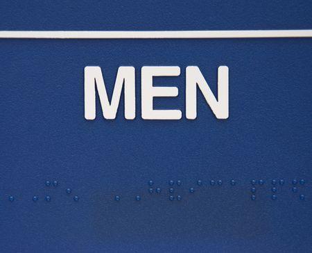 braile: Blue hombres con signo Braille.