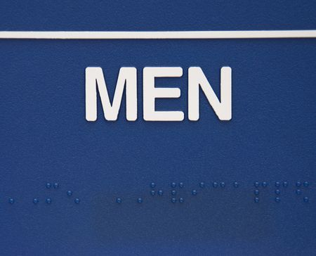 braille: Blue men sign with braille.
