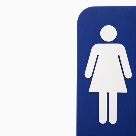 Mujer ba�o signo logo azul en contra fondo blanco.  Foto de archivo - 2043898