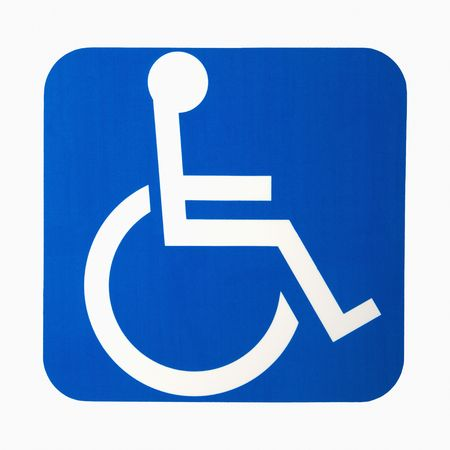 handicapped accessible: Handicapped wheelchair access logo sign.