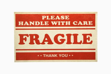 handle with care: Fragile handle with care sign against white background.