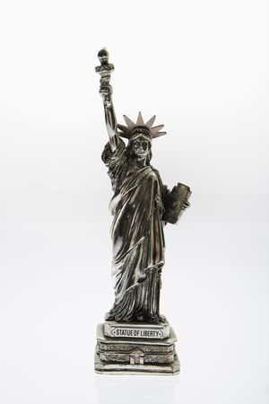 Statue of Liberty reproduction on white background. Stock Photo