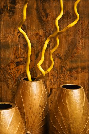 home accents: Interior vases with Asian scene in background.