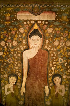 disciples: Buddha and two disciples on old temple cotton scroll from Thailand.