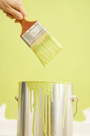 Caucasian female hand holding paintbrush over paint can. Stock Photo - 2043787