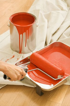 body paint: Hand holding paint roller in tray with painting supplies on drop cloth.