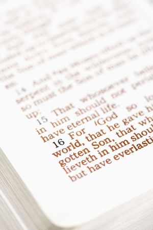 the scriptures: Selective focus of verses in open Holy Bible. Stock Photo