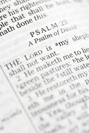 doctrine: Selective focus of Psalm verses in open Holy Bible.