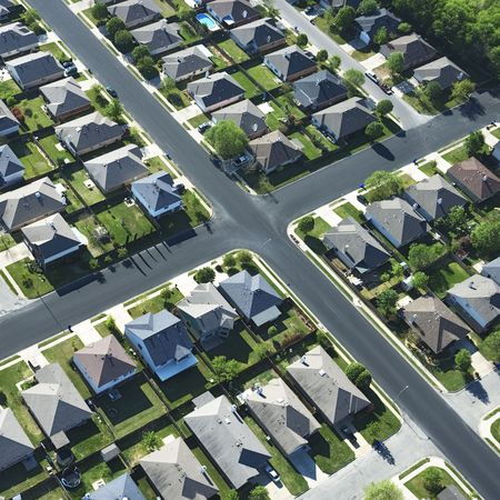 housing development: Aerial view of suburb in Bay City, Texas. Stock Photo