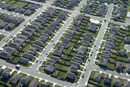 Aerial view of suburb in Bay City, Texas. Stock Photo