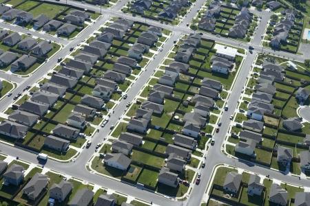 Luchtfoto van buitenwijk in Bay City (Texas).