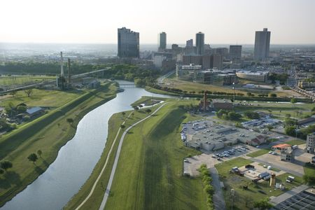 Aerial view of Fort Worth, Texas with view of Trinity River and skyscrapers. photo