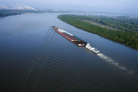 louisiana: Aerial of barge on Mississippi River in Baton Rouge, Louisiana.