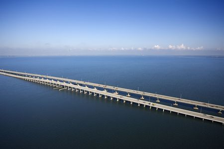Interstate 275 over Howard Aerial of Frankland Bridge over Old Tampa Bay, Flordia. Stock Photo - 2095926
