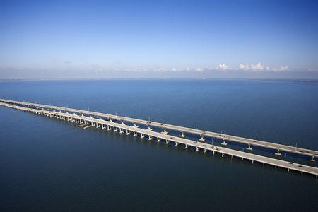 tampa bay: Interstate 275 over Howard Aerial of Frankland Bridge over Old Tampa Bay, Flordia.