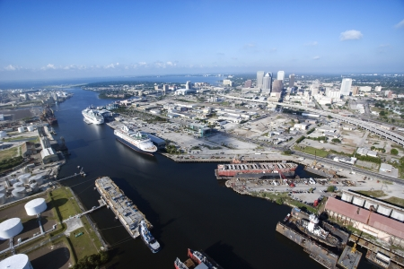 waterway: Aerial view of Tampa Bay Area, Flordia with waterway and ships. Stock Photo