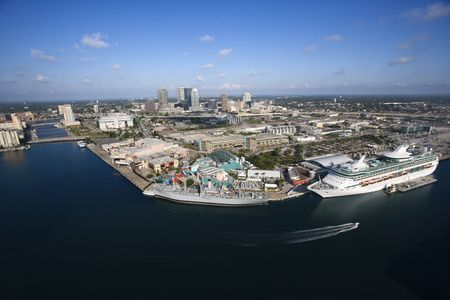 tampa bay: Aerial view of Tampa Bay Area, Flordia with water and cruise ship.