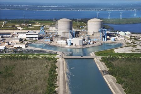 water power: Aerial view of nuclear power plant on Hutchinson Island, Flordia. Editorial