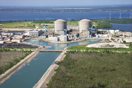nuclear power plant: Aerial view of nuclear power plant on Hutchinson Island, Flordia. Editorial