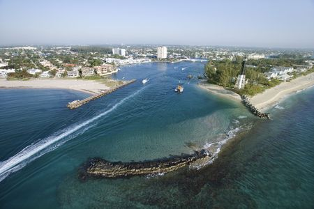 Aerial view of Hillsboro Bay in Pompano Beach, Flordia.  photo