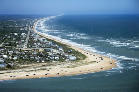 beachfront: Aerial view of beachfront property and Vilano Beach at Saint Johns, Flordia.