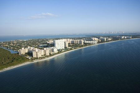 Aerial view of resort buildings on Key Biscayne beach, Flordia.