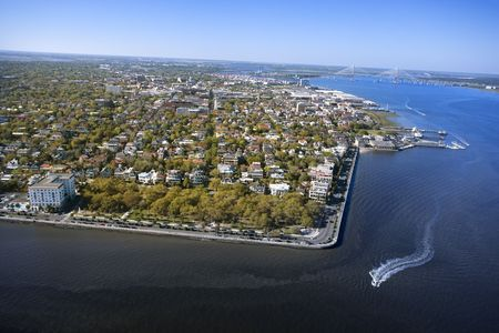 Aerial view of harbor and buildings in Charleston, South Carolina.