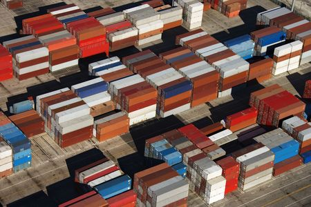 piled: Aerial view of cargo containers piled together.  Stock Photo