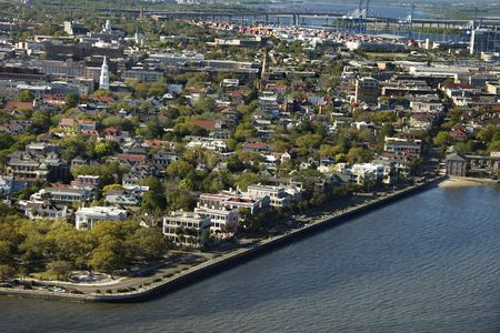 Aerial view of waterfront buildings in Charleston, South Carolina. photo