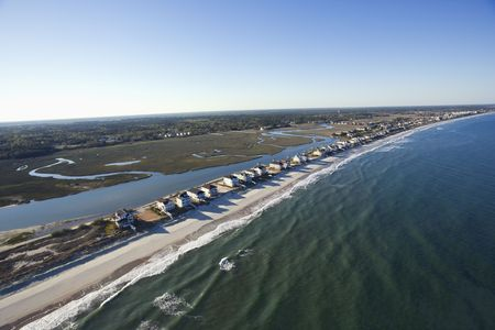 beachfront: Aerial view of houses in row on beachfront of Pawleys Island, South Carolina.