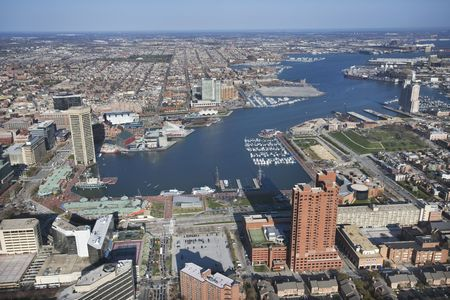 harbors: Aerial view of the Inner Harbor in Baltimore, Maryland.